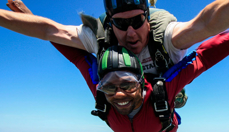 skydiving with glasses on